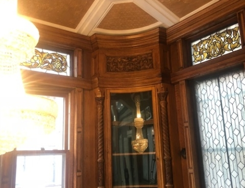 Interior Ceiling trimwork surrounding original stained glass w/chandelier