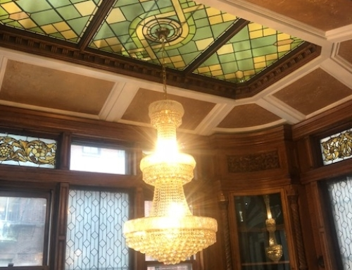 Interior Ceiling surrounding Stained Glass w/Chandelier
